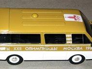 Липецк: автомобиль на службе №33 Раф-2907 Сопровождение олимпийского огня цвет:бежевый с белым, масштаб:1:43, сделан из металла и пластика, модель в блистере,