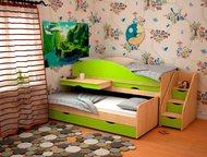 Кровать для детей Караван 5/1 Отличная детская кровать на 2 спальных места ( одна кровать выдвижная), выдвижной столик и горка с ящиками или лестница., Астрахань - Детская мебель