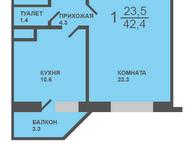 Тюмень: 1-комн квартира, Обдорская, 5/1 1-комн квартира, Ямальский-2 мкр, Обдорская, 5/1, новый дом (заселен), индивидуальный проект, 3/17к, пл. 42, 4 м2, кух