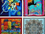 Тула: Платки, шарфы из натурального шёлка Продаются платки из натурального (100%-го) шёлка разной тематики, а также с репродукциями великих художников (шага